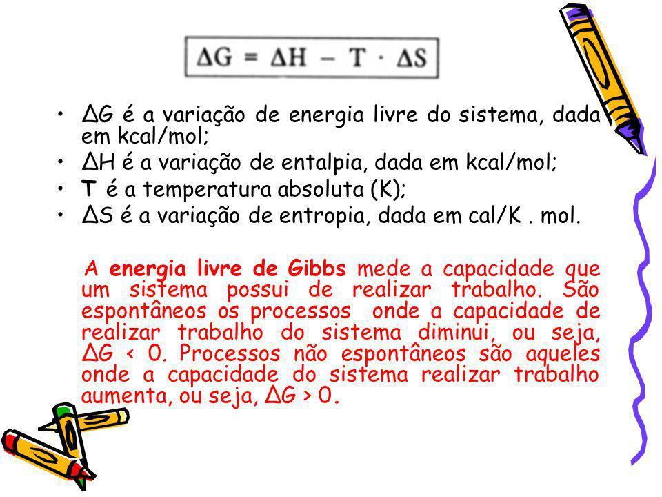 G é a variação de energia livre do sistema, dada em kcal/mol; H é a variação de entalpia, dada em kcal/mol; T é a temperatura absoluta (K); S é a vari
