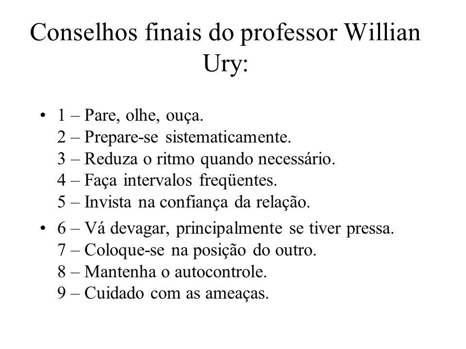 Conselhos finais do professor Willian Ury: 1 – Pare, olhe, ouça. 2 – Prepare-se sistematicamente. 3 – Reduza o ritmo quando necessário. 4 – Faça inter