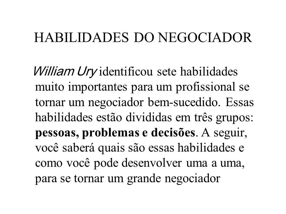 HABILIDADES DO NEGOCIADOR William Ury identificou sete habilidades muito importantes para um profissional se tornar um negociador bem-sucedido. Essas