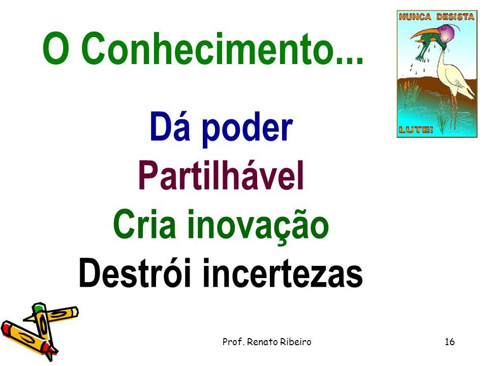 O Conhecimento... Dá poder Partilhável Cria inovação Destrói incertezas 16Prof. Renato Ribeiro