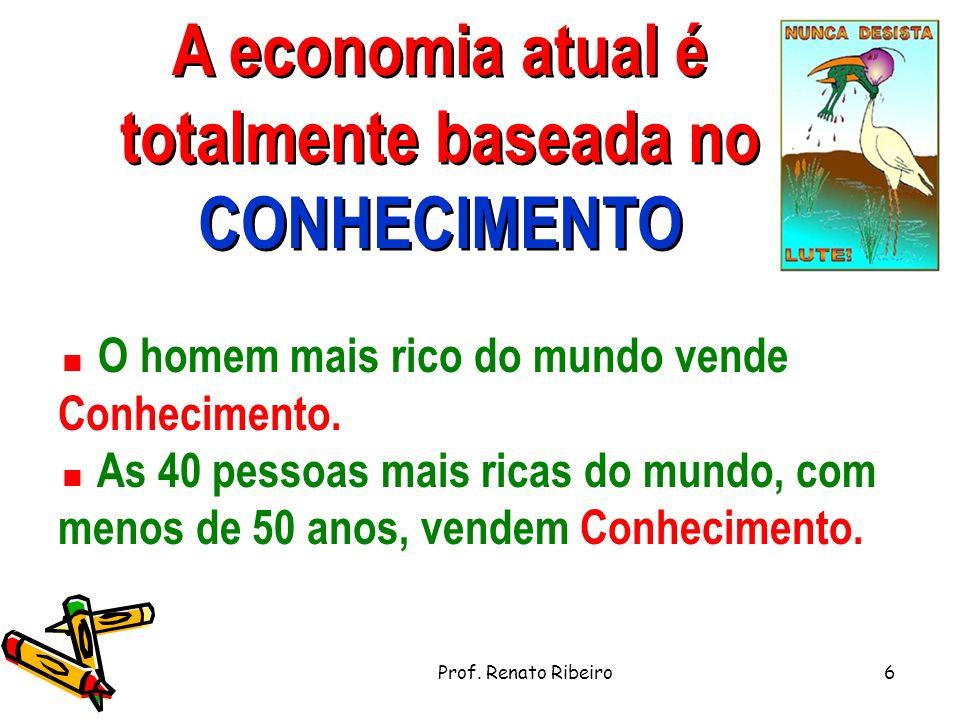 A economia atual é totalmente baseada no CONHECIMENTO O homem mais rico do mundo vende Conhecimento.