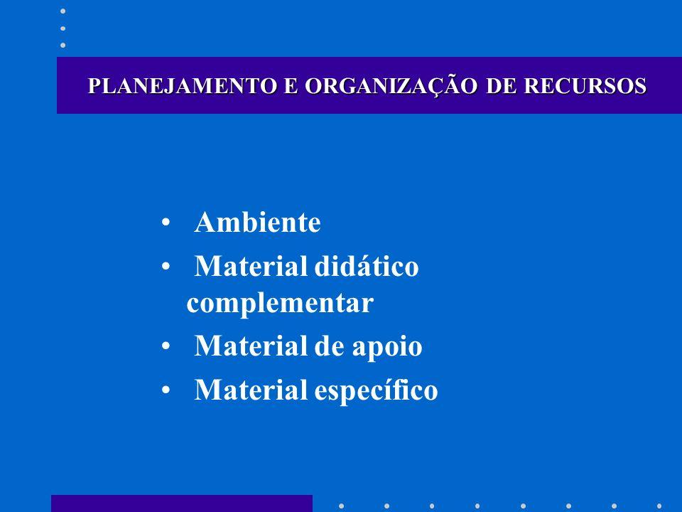 PLANEJAMENTO E ORGANIZAÇÃO DE RECURSOS Ambiente Material didático complementar Material de apoio Material específico