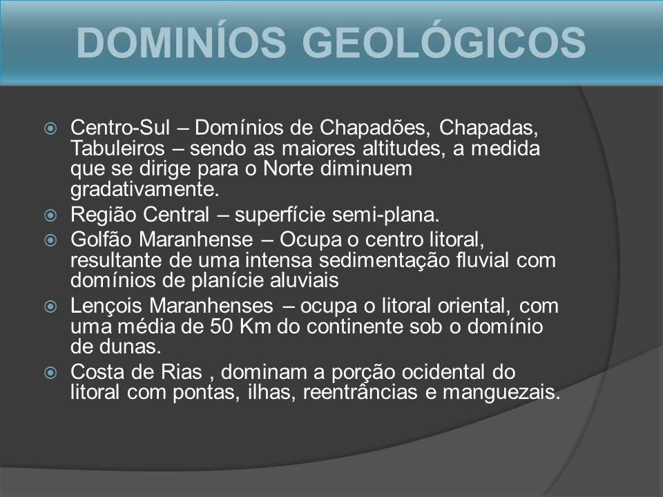 DOMINÍOS GEOLÓGICOS Centro-Sul – Domínios de Chapadões, Chapadas, Tabuleiros – sendo as maiores altitudes, a medida que se dirige para o Norte diminue