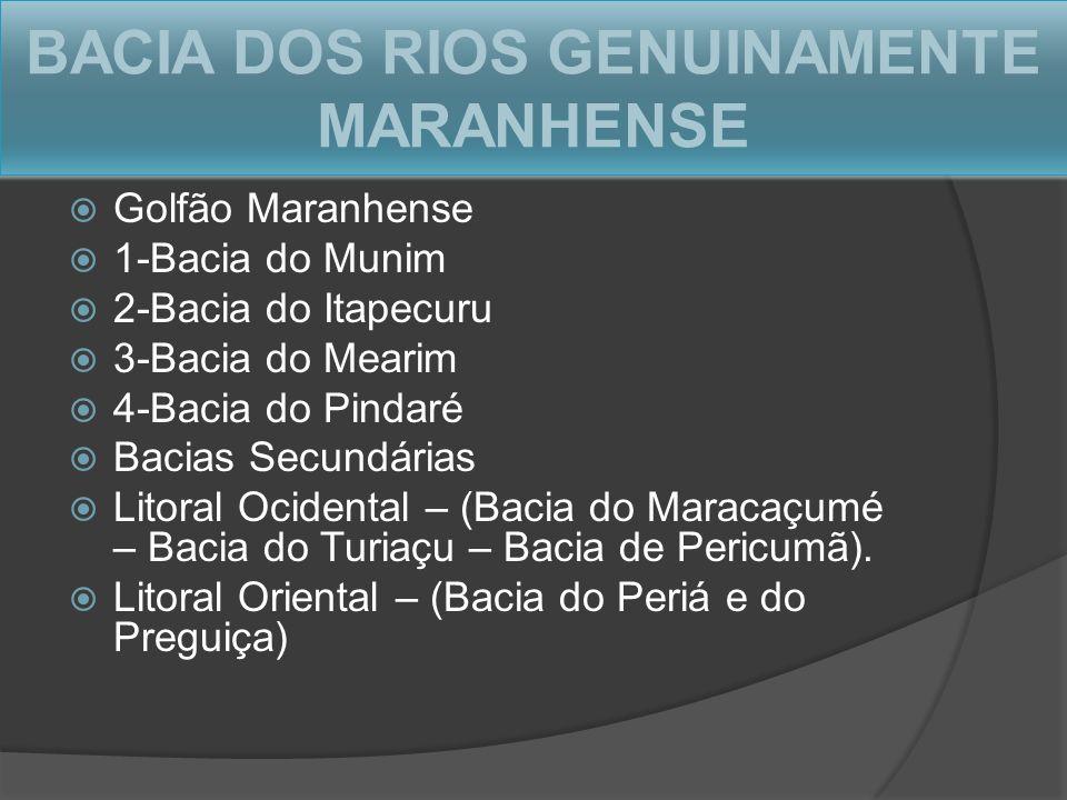 BACIA DOS RIOS GENUINAMENTE MARANHENSE Golfão Maranhense 1-Bacia do Munim 2-Bacia do Itapecuru 3-Bacia do Mearim 4-Bacia do Pindaré Bacias Secundárias