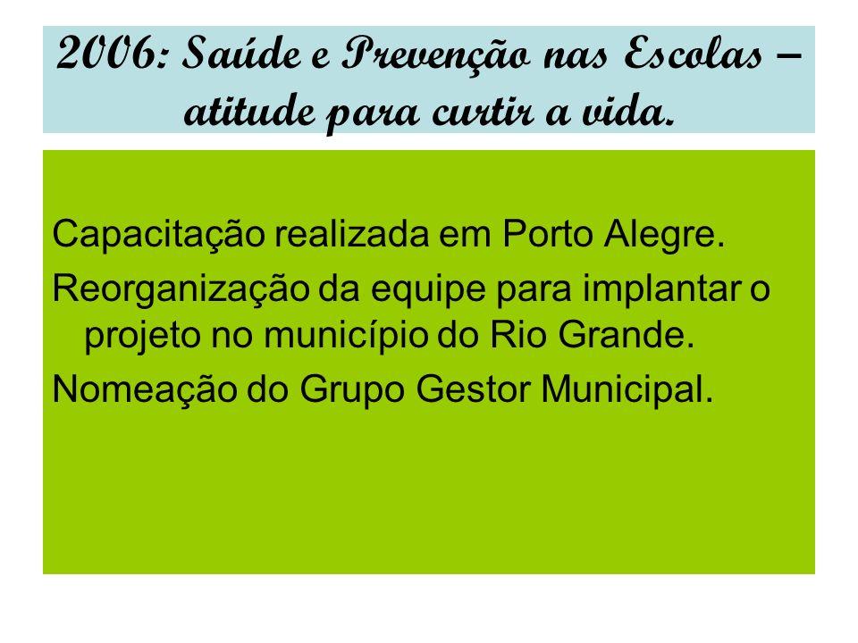 2006: Saúde e Prevenção nas Escolas – atitude para curtir a vida. Capacitação realizada em Porto Alegre. Reorganização da equipe para implantar o proj