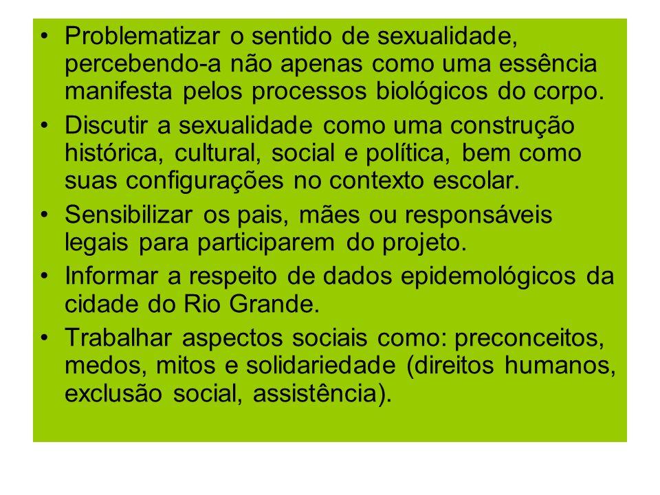 Problematizar o sentido de sexualidade, percebendo-a não apenas como uma essência manifesta pelos processos biológicos do corpo. Discutir a sexualidad