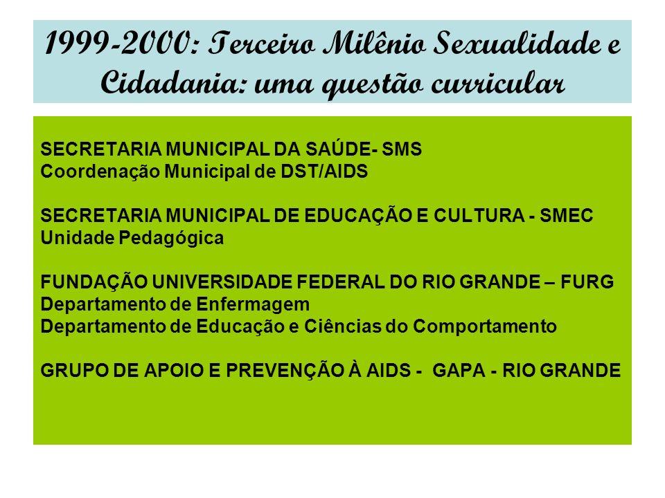 1999-2000: Terceiro Milênio Sexualidade e Cidadania: uma questão curricular SECRETARIA MUNICIPAL DA SAÚDE- SMS Coordenação Municipal de DST/AIDS SECRETARIA MUNICIPAL DE EDUCAÇÃO E CULTURA - SMEC Unidade Pedagógica FUNDAÇÃO UNIVERSIDADE FEDERAL DO RIO GRANDE – FURG Departamento de Enfermagem Departamento de Educação e Ciências do Comportamento GRUPO DE APOIO E PREVENÇÃO À AIDS - GAPA - RIO GRANDE
