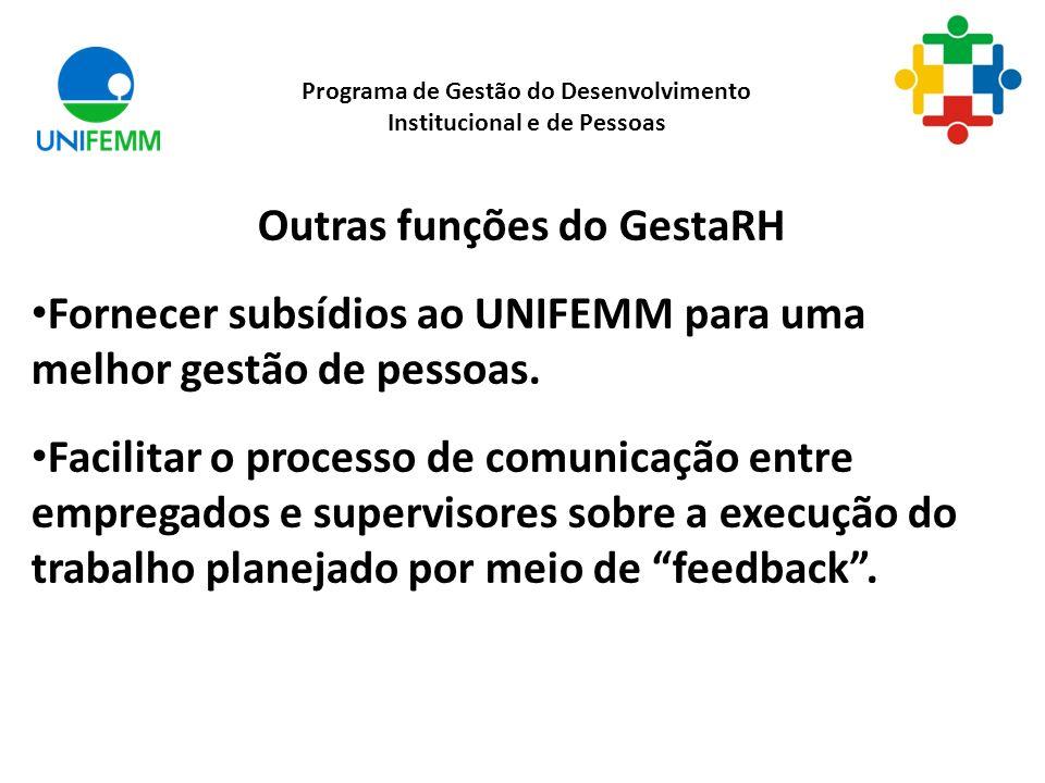 Outras funções do GestaRH Fornecer subsídios ao UNIFEMM para uma melhor gestão de pessoas. Facilitar o processo de comunicação entre empregados e supe