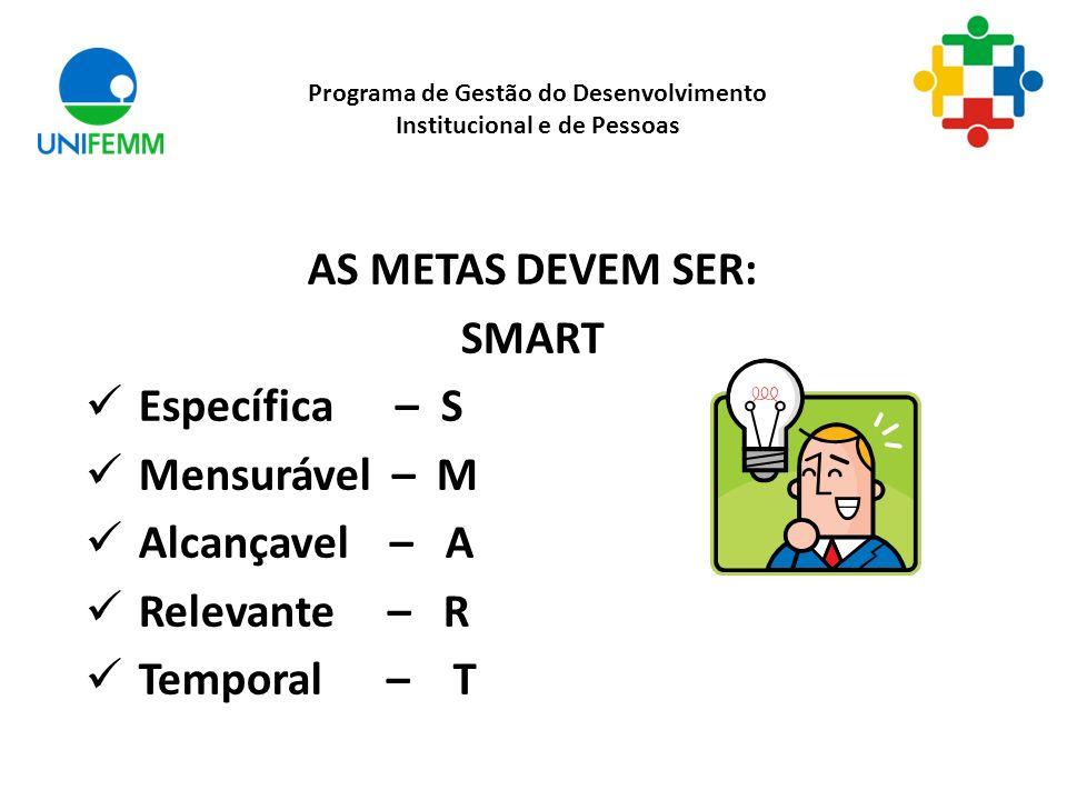 AS METAS DEVEM SER: SMART Específica – S Mensurável – M Alcançavel – A Relevante – R Temporal – T Programa de Gestão do Desenvolvimento Institucional