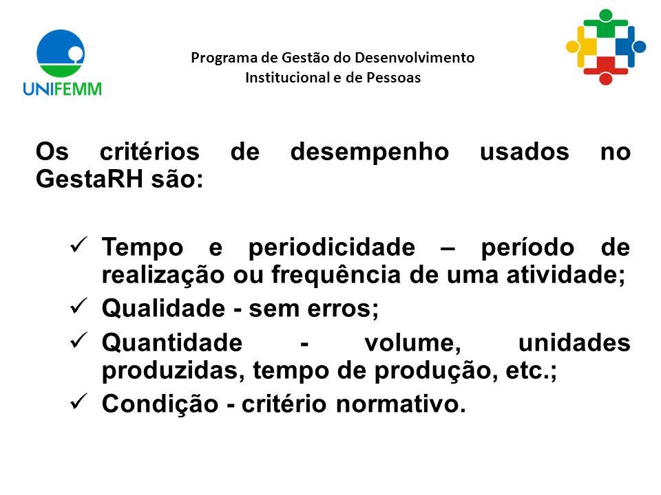 Programa de Gestão do Desenvolvimento Institucional e de Pessoas Os critérios de desempenho usados no GestaRH são: Tempo e periodicidade – período de