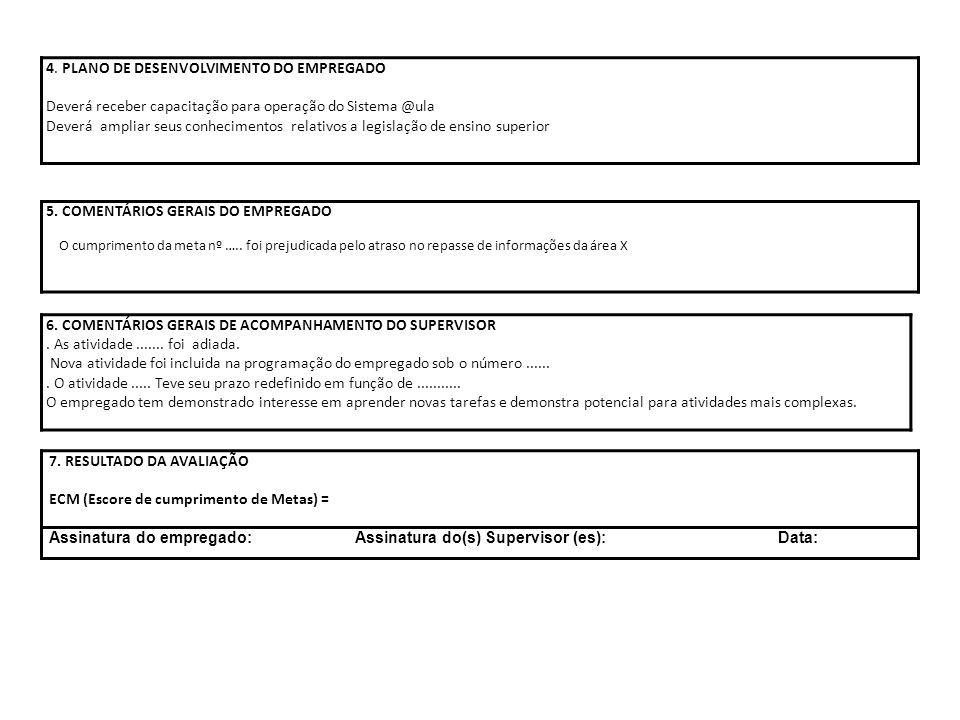 6. COMENTÁRIOS GERAIS DE ACOMPANHAMENTO DO SUPERVISOR. As atividade....... foi adiada. Nova atividade foi incluida na programação do empregado sob o n