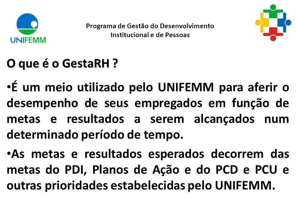 O que é o GestaRH ? É um meio utilizado pelo UNIFEMM para aferir o desempenho de seus empregados em função de metas e resultados a serem alcançados nu