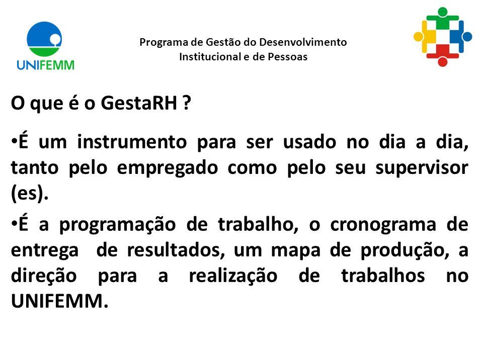 O que é o GestaRH ? É um instrumento para ser usado no dia a dia, tanto pelo empregado como pelo seu supervisor (es). É a programação de trabalho, o c