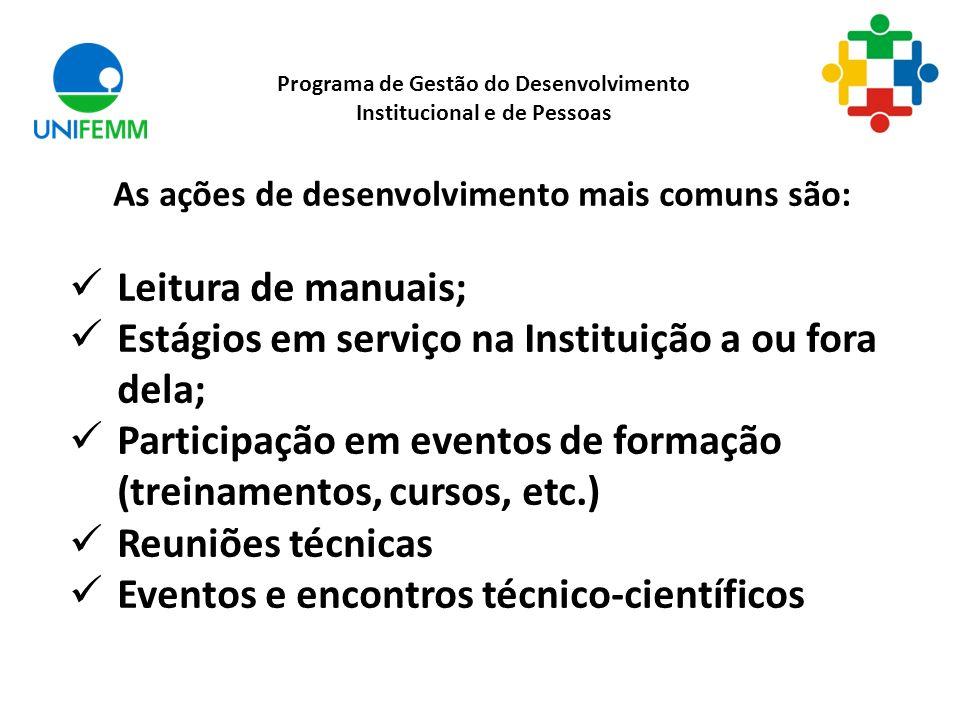 As ações de desenvolvimento mais comuns são: Leitura de manuais; Estágios em serviço na Instituição a ou fora dela; Participação em eventos de formaçã