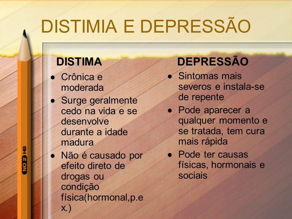 DISTIMIA E DEPRESSÃO DISTIMA Crônica e moderada Surge geralmente cedo na vida e se desenvolve durante a idade madura Não é causado por efeito direto d