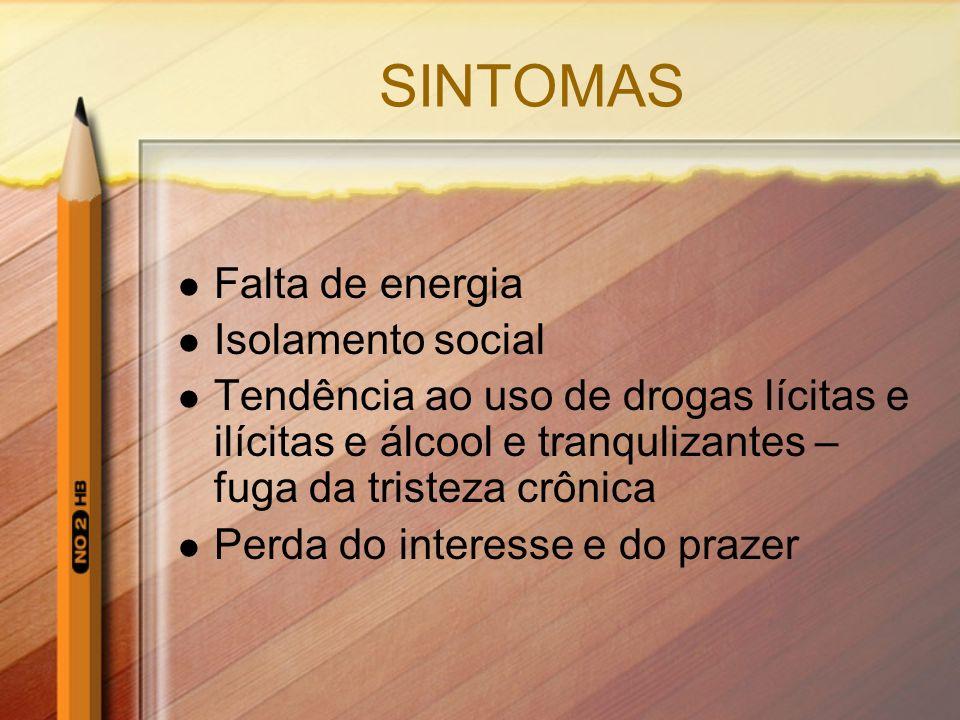 SINTOMAS Falta de energia Isolamento social Tendência ao uso de drogas lícitas e ilícitas e álcool e tranqulizantes – fuga da tristeza crônica Perda d