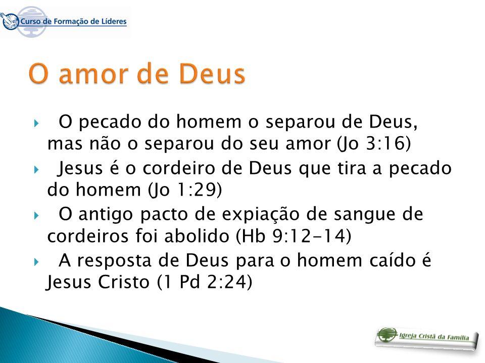 O pecado do homem o separou de Deus, mas não o separou do seu amor (Jo 3:16) Jesus é o cordeiro de Deus que tira a pecado do homem (Jo 1:29) O antigo