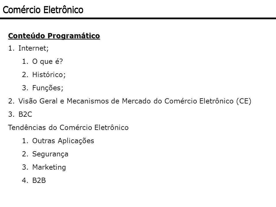 Comércio Eletrônico Conteúdo Programático 1.Internet; 1.O que é? 2.Histórico; 3.Funções; 2.Visão Geral e Mecanismos de Mercado do Comércio Eletrônico