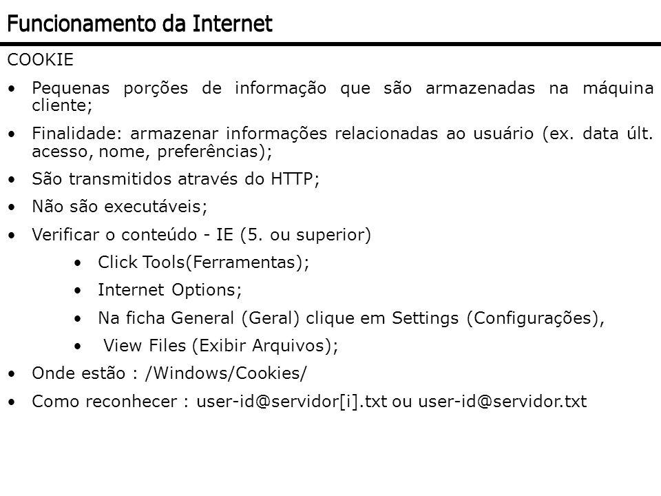 COOKIE Pequenas porções de informação que são armazenadas na máquina cliente; Finalidade: armazenar informações relacionadas ao usuário (ex. data últ.