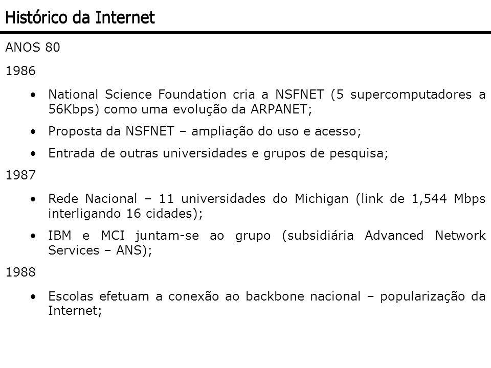 ANOS 80 1989 Tim Benes-Lee (físico) cria na Suíça o World Wide Web (WWW) – Teia de Alcance Global - para facilitar o compartilhamento de informações; Conceito de Hipertexto Navegação entre os vários sites da Internet; Apenas Textos; ANOS 90 Desaparecimento da ARPANET; 1993 Universidade de Ilinois desenvolveu uma interface para a WWW chamada MOSAIC Web Browser; Navegação através de click; Recursos de Imagens, sons e videoclipes; Crescimento da utilização da Internet; Histórico da Internet