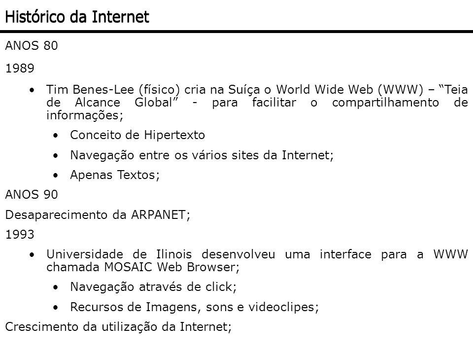 PROTOCOLO Baseado no Protocolo TCP/IP através da interligação de redes; A interligação das redes é feita através de Pontos de Presença (POP – Point of Presence); Tecnologia aberta (Não proprietária); Uniform Resource Locator (URL) Endereço Textual da localidade; Indica o tipo de servidor, o equipamento onde a informação está e sua localização neste equipamento; Várias partes - ex.http://www.icmc.usp.br/ensino/material/html/url.html http:// – Hipertext Transfer Protocol (detalha o protocolo a ser usado); www.icmc.usp.br – Domínio / endereço do site (indica o servidor a ser localizado); ensino/material/html/ – o caminho dos diretórios; url.html – indica o recurso a ser obtido (arquivo da página) Funcionamento da Internet