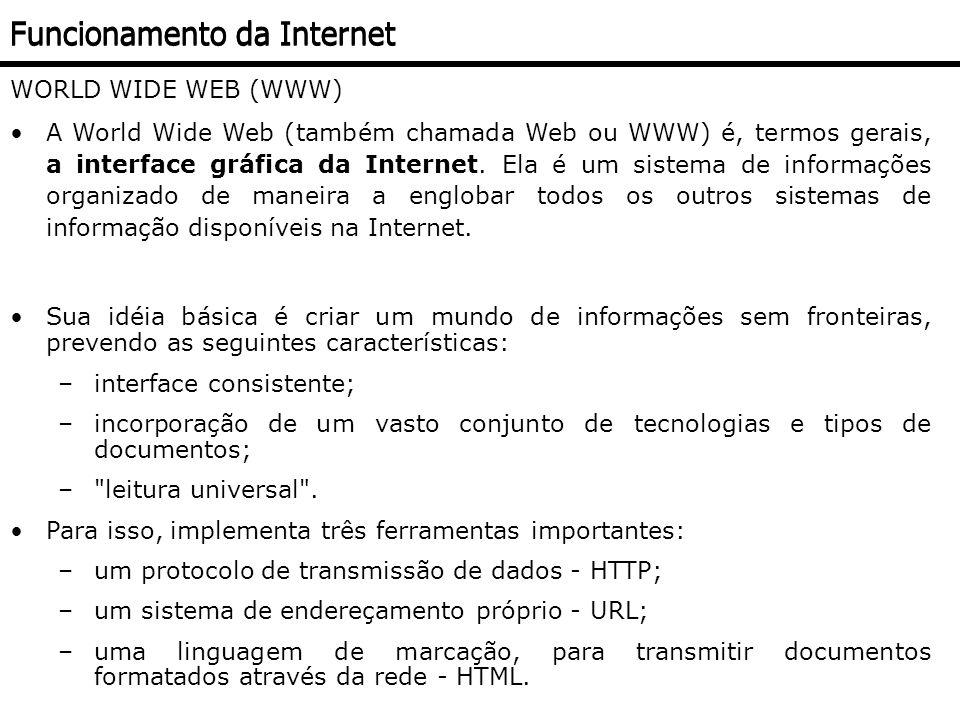 NAVEGADOR (BROWSER) Navegador, Visualizador ou Browser; Permite a utilização da Internet através da World Wide Web; Início: necessidade de aquisição; Principais: Internet Explorer (IE); Firefox; Chrome; Opera; Safari (Apple) Funcionamento da Internet