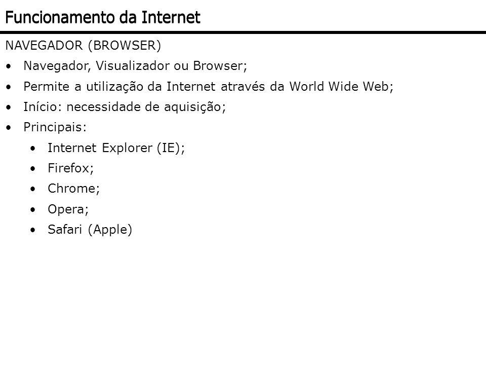 NAVEGADOR (BROWSER) Navegador, Visualizador ou Browser; Permite a utilização da Internet através da World Wide Web; Início: necessidade de aquisição;
