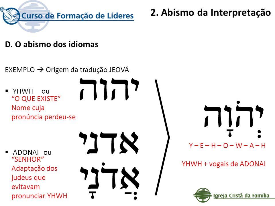 2. Abismo da Interpretação D. O abismo dos idiomas EXEMPLO Origem da tradução JEOVÁ YHWH ou ADONAI ou O QUE EXISTE Nome cuja pronúncia perdeu-se SENHO