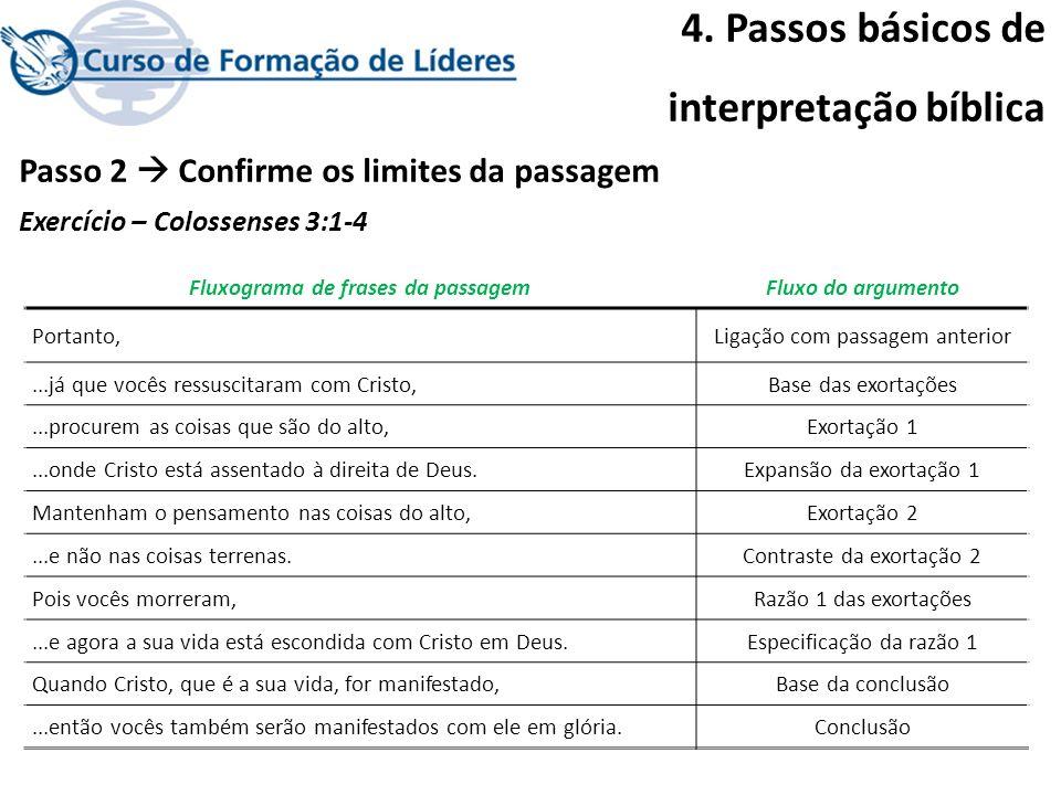 4. Passos básicos de interpretação bíblica Passo 2 Confirme os limites da passagem Exercício – Colossenses 3:1-4 Fluxograma de frases da passagemFluxo