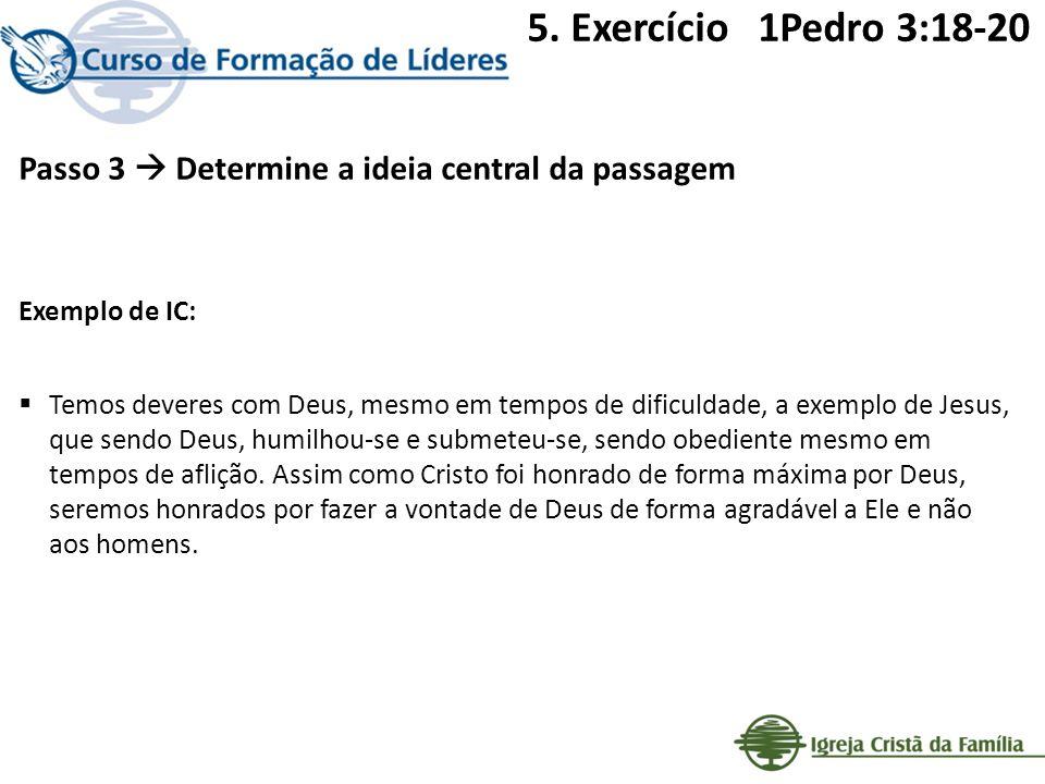 Passo 3 Determine a ideia central da passagem Exemplo de IC: Temos deveres com Deus, mesmo em tempos de dificuldade, a exemplo de Jesus, que sendo Deu