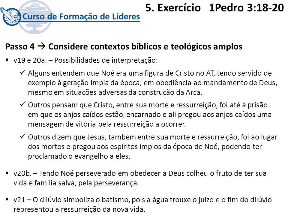 Passo 4 Considere contextos bíblicos e teológicos amplos v19 e 20a. – Possibilidades de interpretação: Alguns entendem que Noé era uma figura de Crist