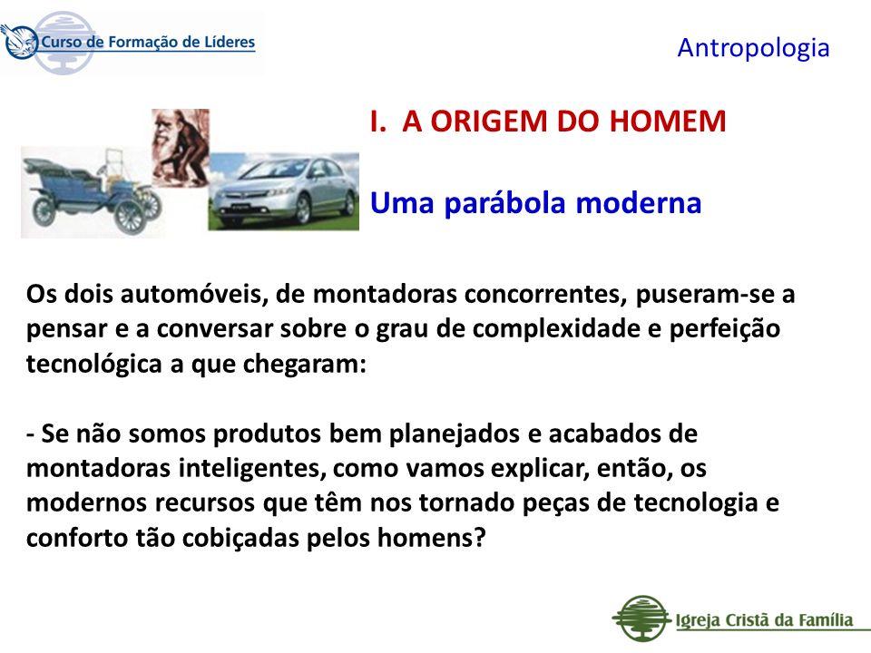 Antropologia Os dois automóveis, de montadoras concorrentes, puseram-se a pensar e a conversar sobre o grau de complexidade e perfeição tecnológica a