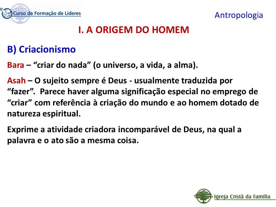 Antropologia B) Criacionismo Bara – criar do nada (o universo, a vida, a alma). Asah – O sujeito sempre é Deus - usualmente traduzida por fazer. Parec