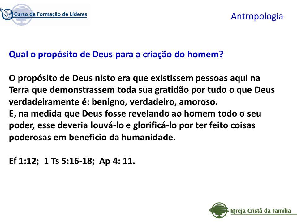 Antropologia Qual o propósito de Deus para a criação do homem? O propósito de Deus nisto era que existissem pessoas aqui na Terra que demonstrassem to