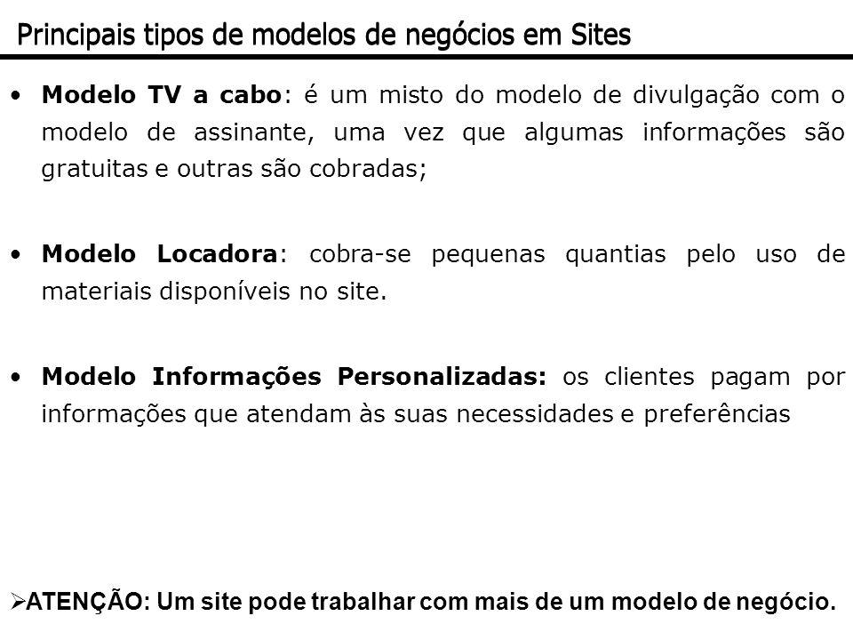 Modelo TV a cabo: é um misto do modelo de divulgação com o modelo de assinante, uma vez que algumas informações são gratuitas e outras são cobradas; M