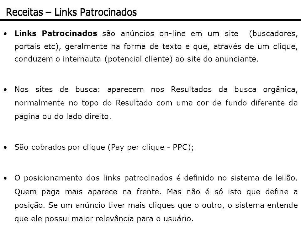 Links Patrocinados são anúncios on-line em um site (buscadores, portais etc), geralmente na forma de texto e que, através de um clique, conduzem o int