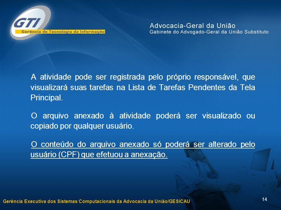Gerência Executiva dos Sistemas Computacionais da Advocacia da União/GESICAU 14 A atividade pode ser registrada pelo próprio responsável, que visualiz