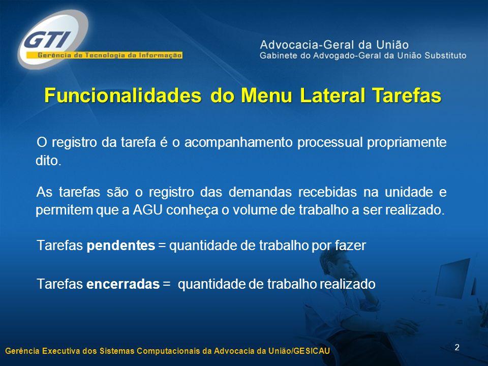 Gerência Executiva dos Sistemas Computacionais da Advocacia da União/GESICAU 2 O registro da tarefa é o acompanhamento processual propriamente dito.