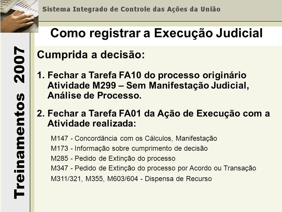 Treinamentos 2007 Cumprida a decisão: 1.Fechar a Tarefa FA10 do processo originário Atividade M299 – Sem Manifestação Judicial, Análise de Processo. 2