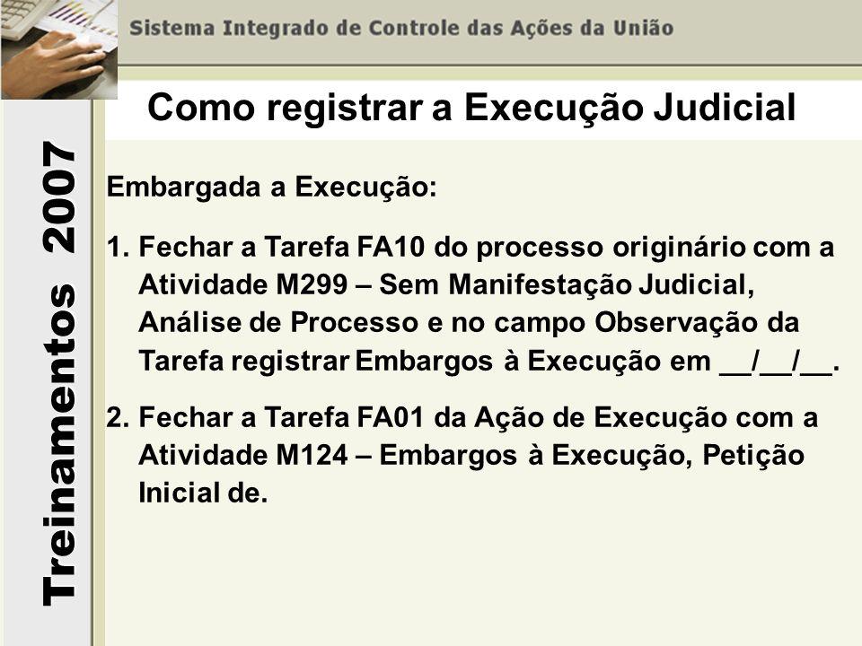 Treinamentos 2007 Embargada a Execução: 1.Fechar a Tarefa FA10 do processo originário com a Atividade M299 – Sem Manifestação Judicial, Análise de Pro