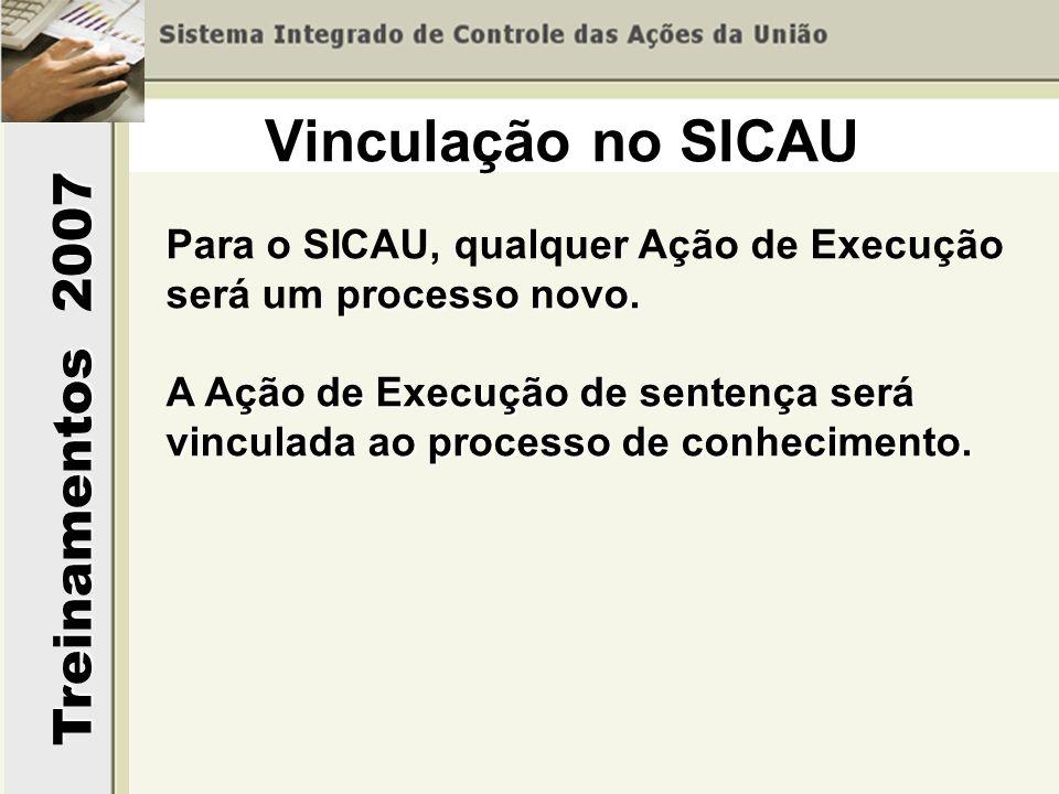 Treinamentos 2007 processo novo. Para o SICAU, qualquer Ação de Execução será um processo novo. A Ação de Execução de sentença será vinculada ao proce