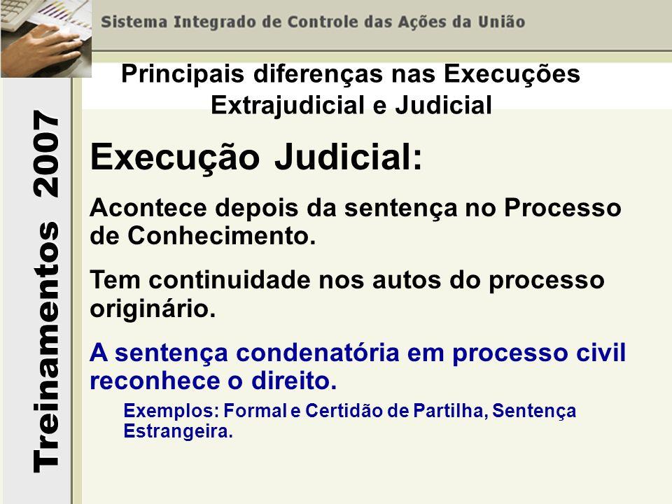 Treinamentos 2007 Execução Judicial: Acontece depois da sentença no Processo de Conhecimento. Tem continuidade nos autos do processo originário. A sen