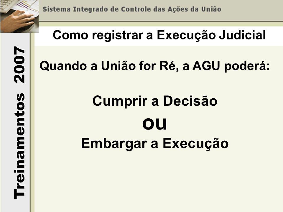 Treinamentos 2007 Quando a União for Ré, a AGU poderá: Cumprir a Decisão ou Embargar a Execução Como registrar a Execução Judicial