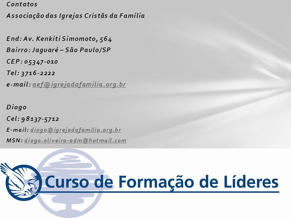 Contatos Associação das Igrejas Cristãs da Família End: Av. Kenkiti Simomoto, 564 Bairro: Jaguaré – São Paulo/SP CEP: 05347-010 Tel: 3716-2222 e-mail: