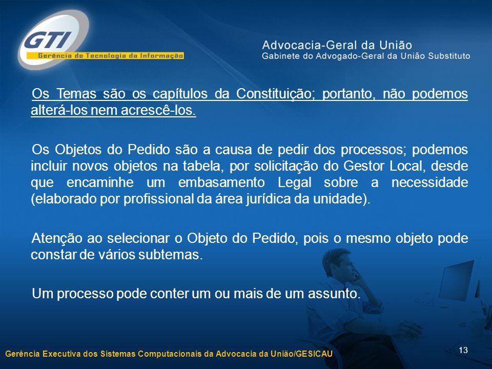 Gerência Executiva dos Sistemas Computacionais da Advocacia da União/GESICAU 13 Os Temas são os capítulos da Constituição; portanto, não podemos alterá-los nem acrescê-los.