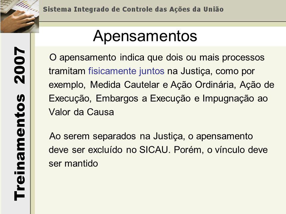Treinamentos 2007 O apensamento indica que dois ou mais processos tramitam fisicamente juntos na Justiça, como por exemplo, Medida Cautelar e Ação Ord