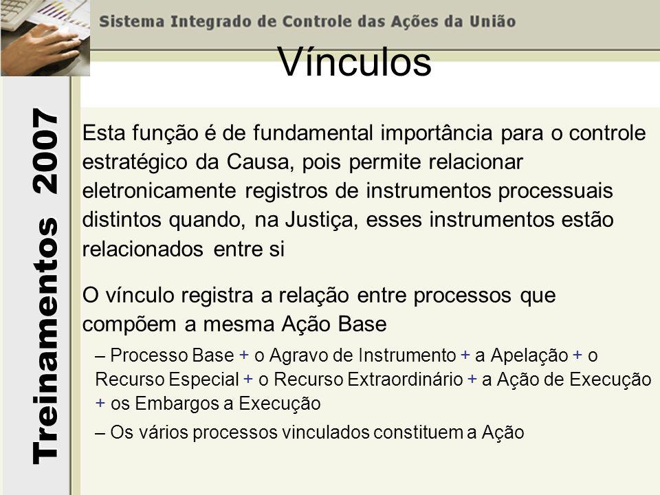 Treinamentos 2007 O Vínculo pode ser incluído de duas maneiras –Vinculando processos já registrados na base de dados, ou –Incluir Vinculando um novo processo a um processo que já consta da base de dados Vínculos – Inclusão de vínculo