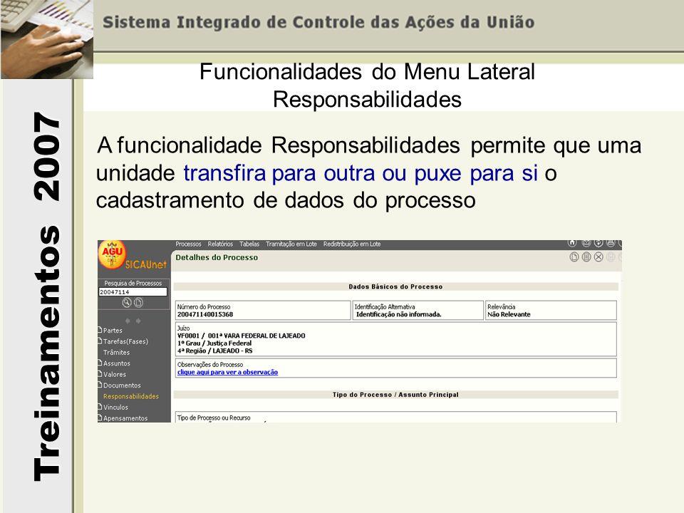 Treinamentos 2007 A funcionalidade Responsabilidades permite que uma unidade transfira para outra ou puxe para si o cadastramento de dados do processo Funcionalidades do Menu Lateral Responsabilidades