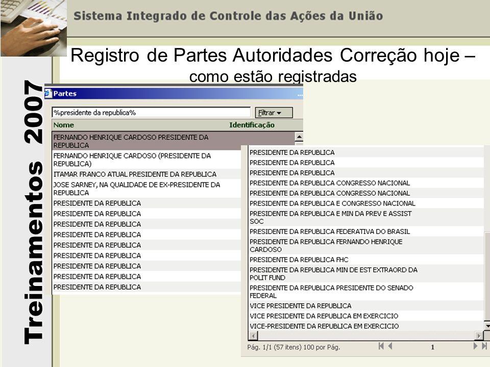 Treinamentos 2007 Registro de Partes Autoridades Correção hoje – como estão registradas