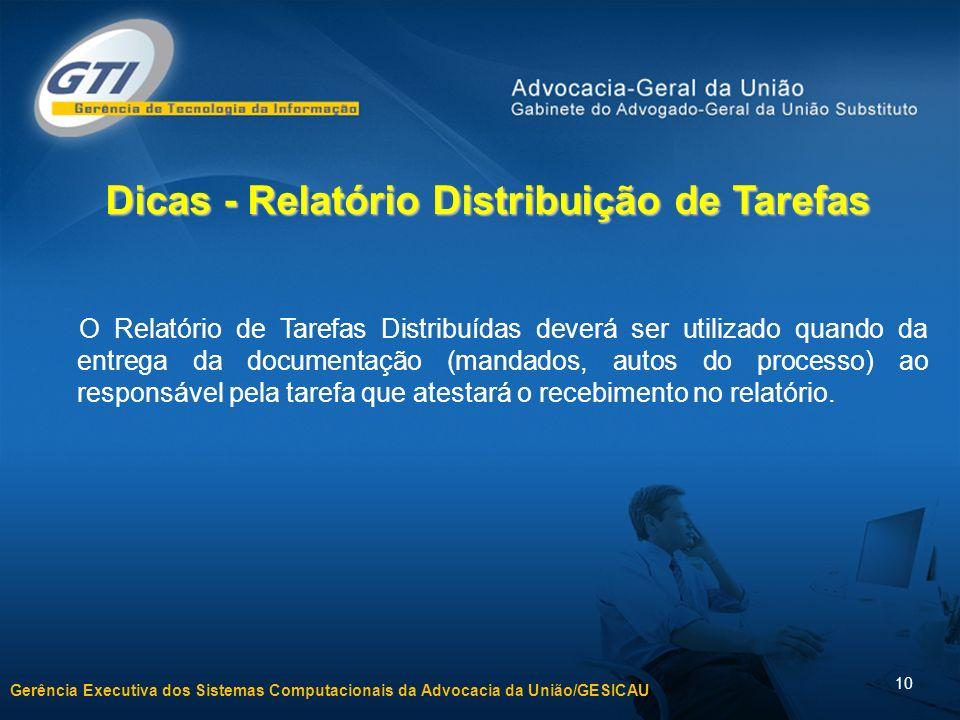 Gerência Executiva dos Sistemas Computacionais da Advocacia da União/GESICAU 10 Dicas - Relatório Distribuição de Tarefas O Relatório de Tarefas Distr